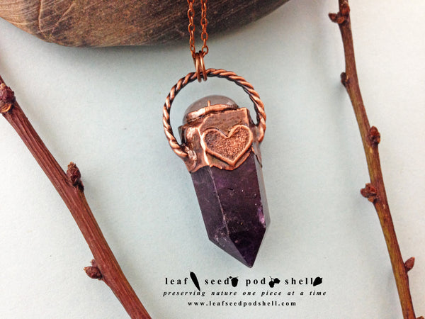 Amethyst Pendant - Antique Copper - Cat No 550 - Leaf Seed Pod Shell - 2
