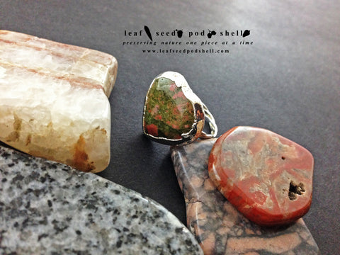 Unakite Heart Ring - Silver - Cat No 565 - Leaf Seed Pod Shell - 1