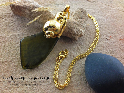 Sea Glass Shell Pendant - Gold - Cat No 601