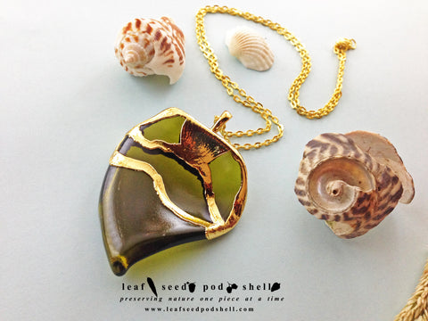 Sea Glass Pendant - Gold - Cat No 609