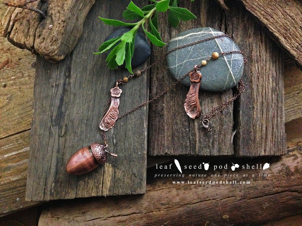 Acorn - Antique Copper - Cat No 61 - Leaf Seed Pod Shell - 1