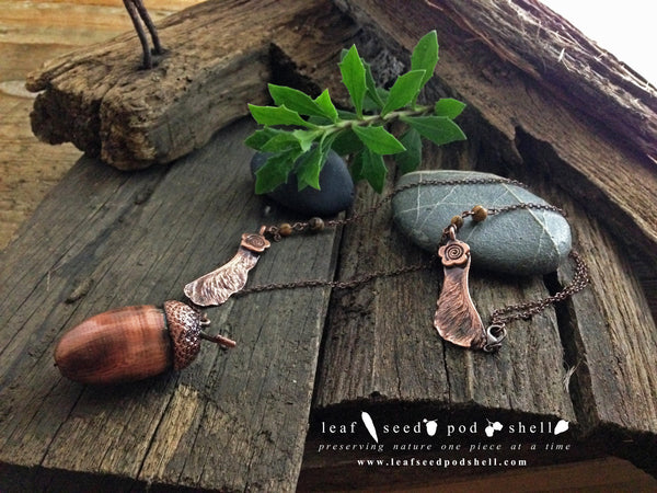Acorn - Antique Copper - Cat No 61 - Leaf Seed Pod Shell - 2