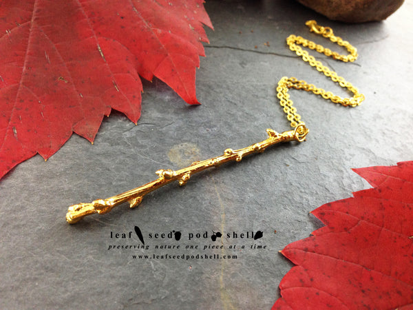 Twig Pendant - Gold - Cat No 673