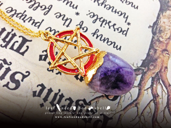 Amethyst Pentagram Pendant - Gold - Cat No 684