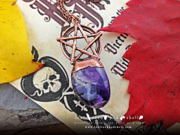 Amethyst Pentagram Pendant - Antique Copper - Cat No 691