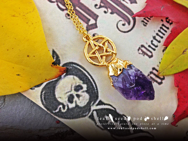 Amethyst Pentagram Pendant - Gold - Cat No 692