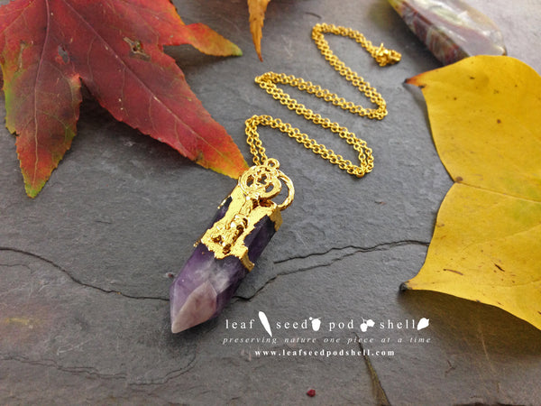 Amethyst Point Pendant - Gold - Cat No 698