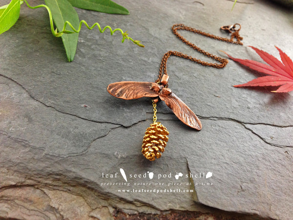 Maple Seed/Pine Cone Pendant - Antique Copper/ Gold - Cat No 702