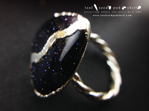 Gold Stone Heart Ring - Silver - Cat No 719