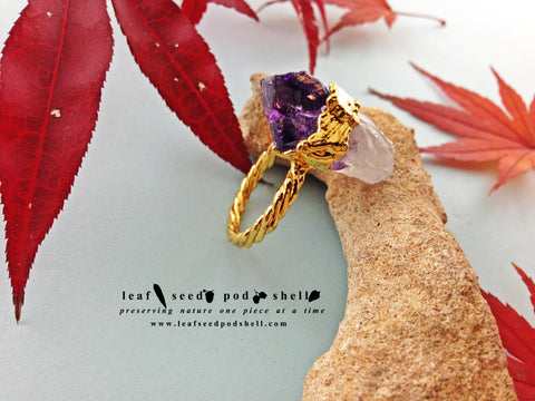 Amethyst Natural Point Ring - Gold - Cat No 723