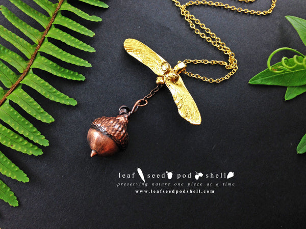 Maple Seed/Acorn Pendant - Gold/Antique Copper - Cat No 726