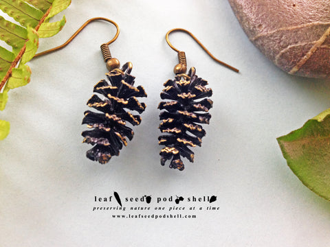 Pine Cone Earrings - Antique Brass - Cat No 728