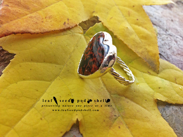 Red Obsidian Heart Ring - Silver - Cat No 737