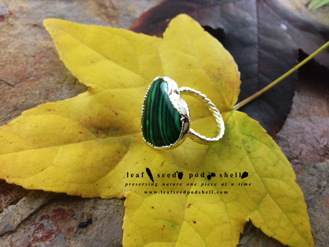 Malachite Heart Ring - Silver - Cat No 739