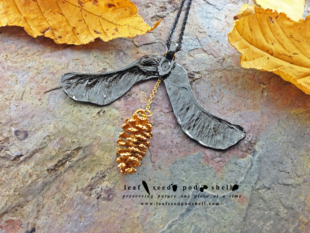 Maple Seed/Pine Cone Pendant - Black Nickel/Gold - Cat No 744