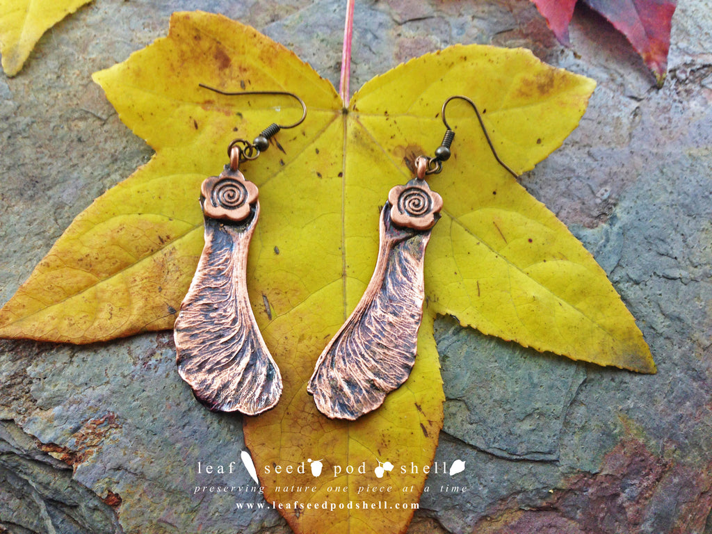Maple Seed Earrings - Antique Copper - Cat No 747