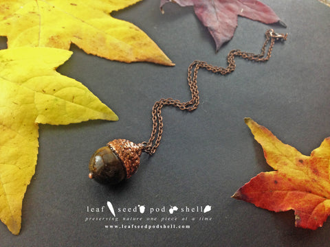 Tigers Eye Acorn - Antique Copper - Cat No 750