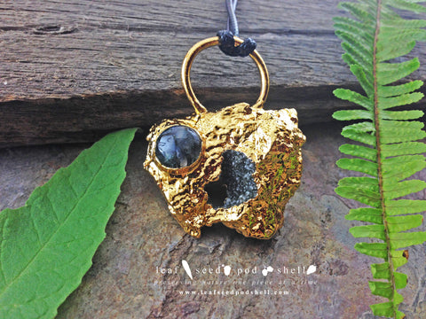 Quartz Crystal Cluster Pendant - Gold - Cat No 753