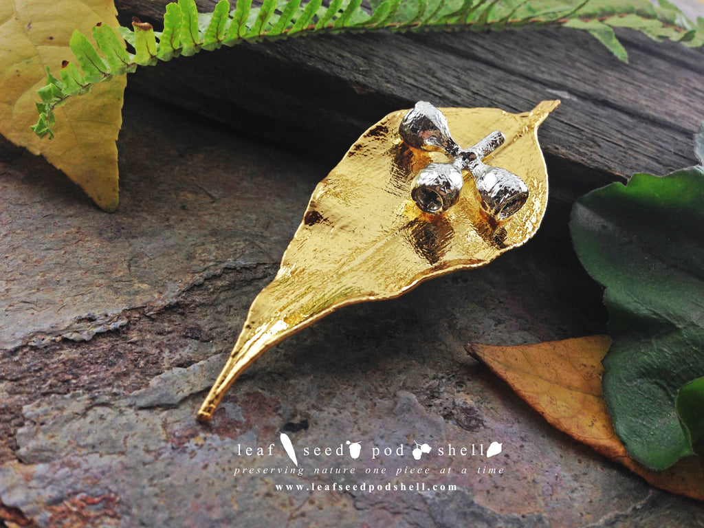 Gum Leaf and Gum Nut Brooch - Gold and Silver - Cat No 755