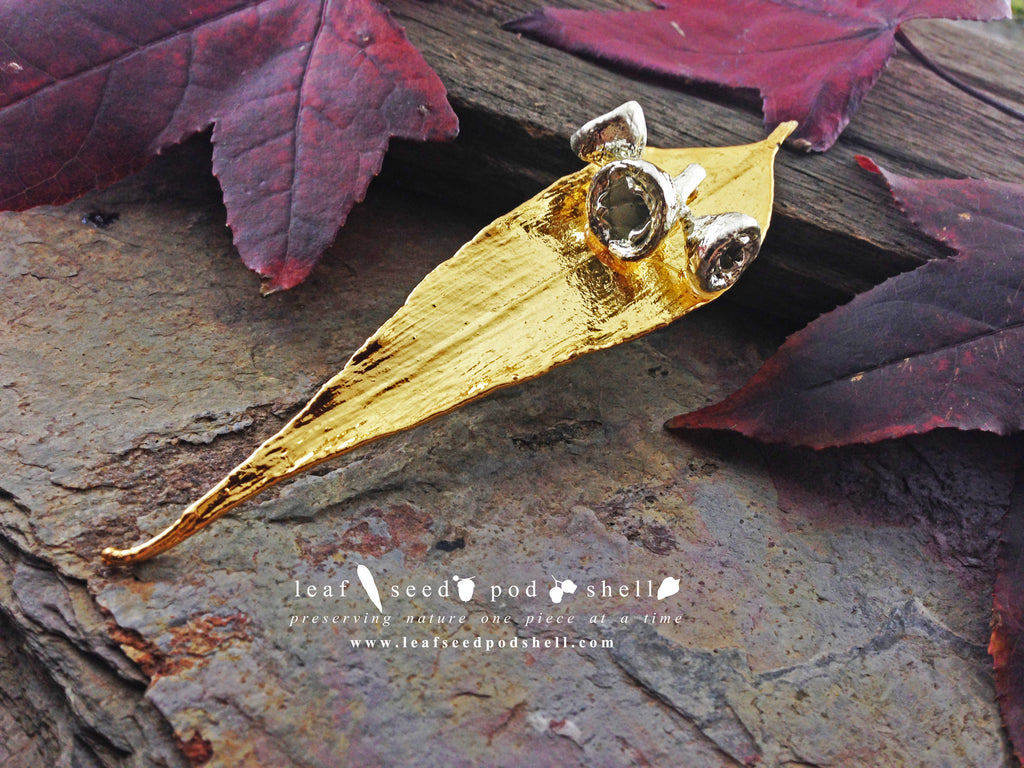 Gum Leaf and Gum Nut Brooch - Gold and Silver - Cat No 756