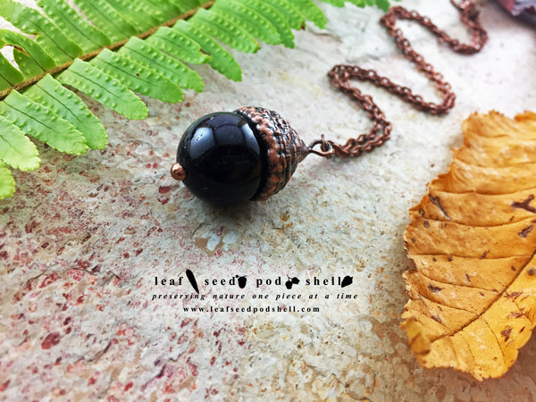 Amethyst Acorn Pendant - Antique Copper - Cat No 760