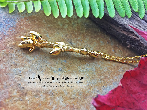 Oak Tree Twig Pendant - Gold - Cat No 796