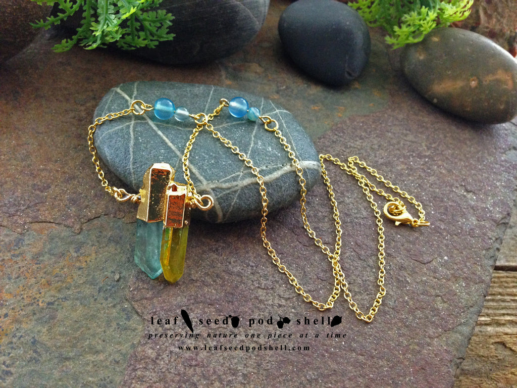 Blue and Yellow Quartz Crystal - Gold - Cat No 80 - Leaf Seed Pod Shell - 1