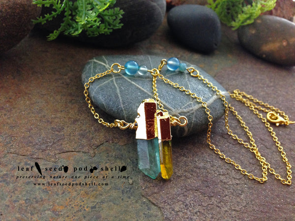 Blue and Yellow Quartz Crystal - Gold - Cat No 80 - Leaf Seed Pod Shell - 2
