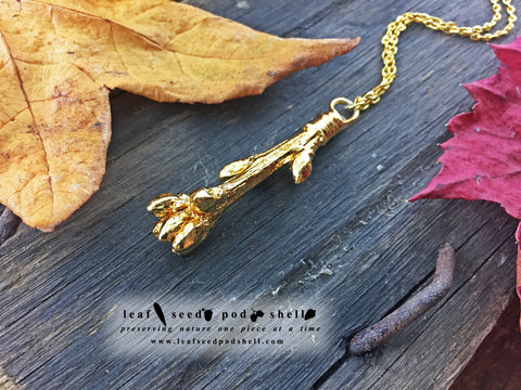 Oak Tree Twig Pendant - Gold - Cat No 806