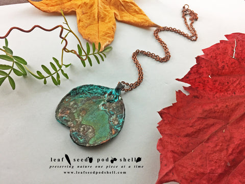 Apple Gum Leaf Pendant - Copper Patina - Cat No 817