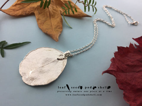 Apple Gum Leaf Pendant - Silver - Cat No 818