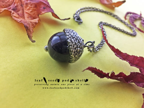 Amethyst Acorn Pendant - Antique Silver - Cat No 826
