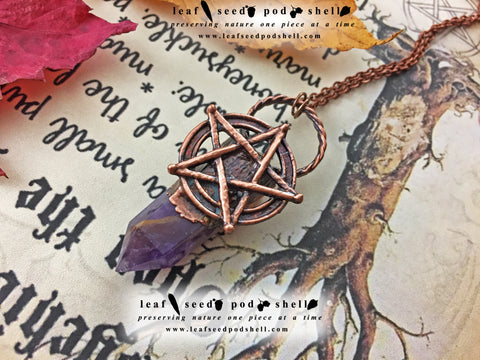 Amethyst Pentagram Pendant - Antique Copper - Cat No 866