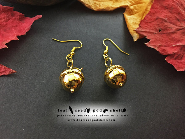 Acorn Earrings - Gold - Cat No 868