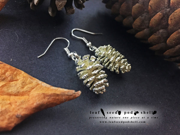 Pine Cone Earrings - Silver - Cat No 877