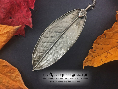 Rhododendron Leaf Pendant - Antique Nickel - Cat No 885
