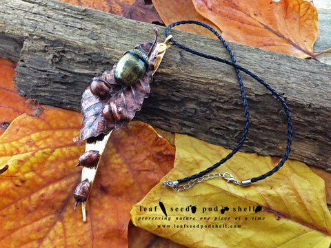 Gum Leaf And Oak Leaf Statement Piece - Various Finishes - Cat No 89 - Leaf Seed Pod Shell - 1