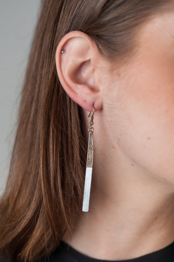 Two-tone Bar Earrings