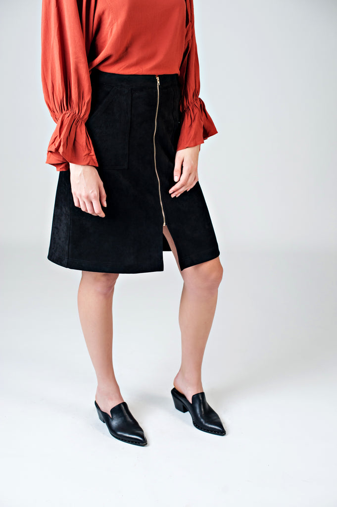 Suede Zipper Front Skirt