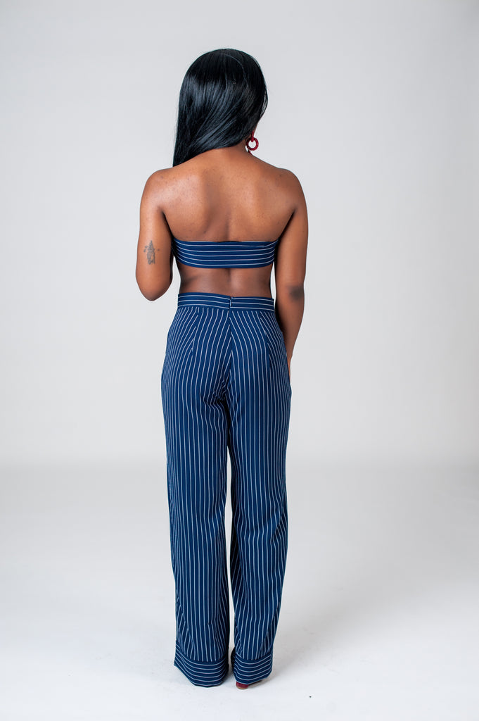 Pinstripe High Waisted Pants