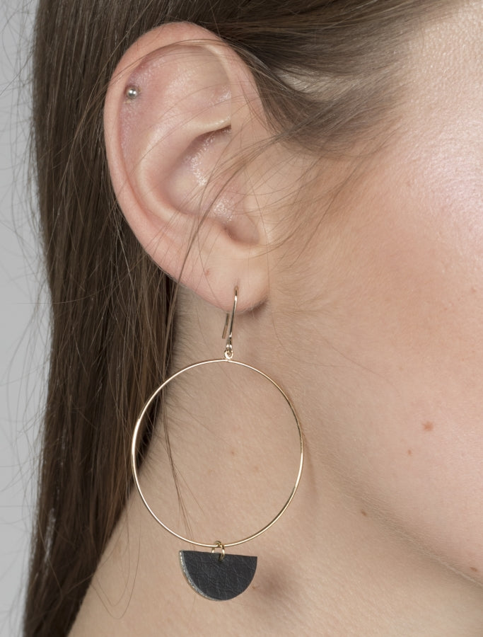 Gold & Leather Hoops