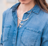 Silver Aztec Layered Necklace
