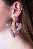 Fabric Bead Triangle Earrings