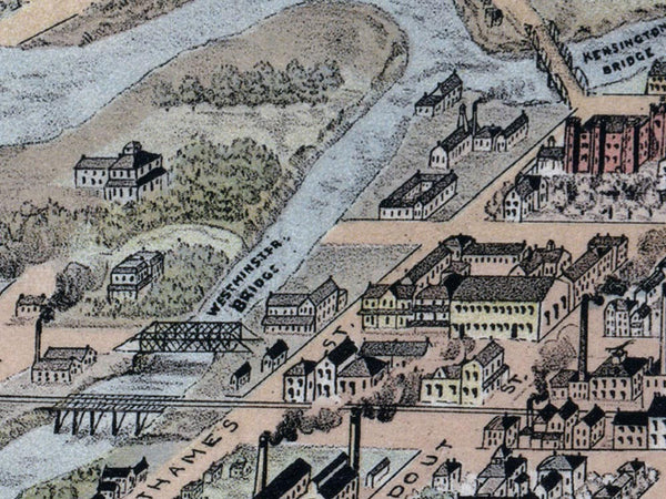 1893 Birds Eye View of London, Ontario