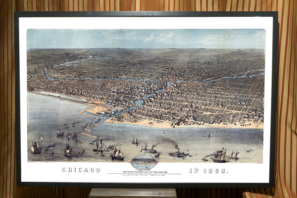 1868 Birds Eye View of Chicago