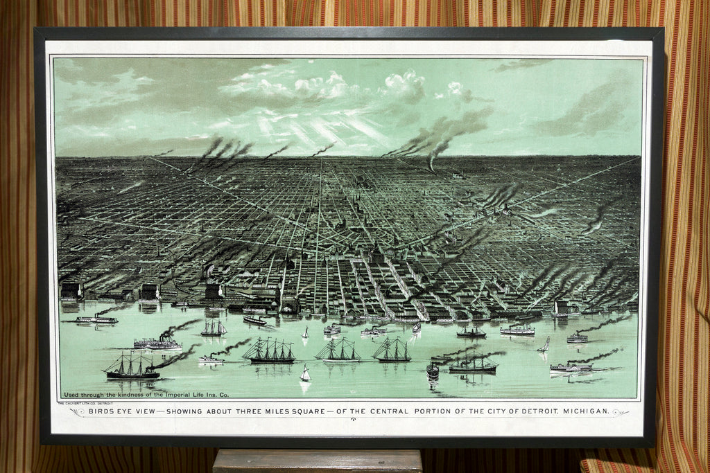 1889 Detroit Map Birds Eye View