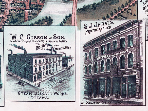 1895 Ottawa Map Birds Eye View