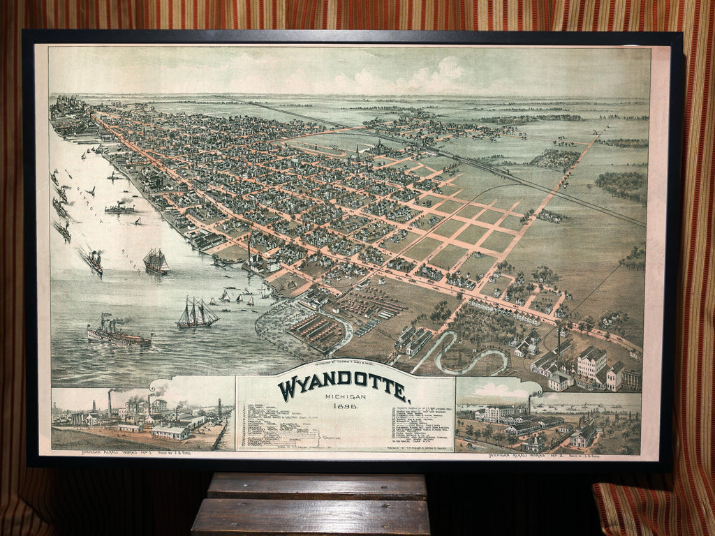 1896 Birds Eye View of Wyandotte, Michigan