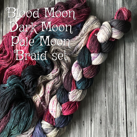 Blood Moon, Dark Moon, Pale Moon Braided 3 skein set