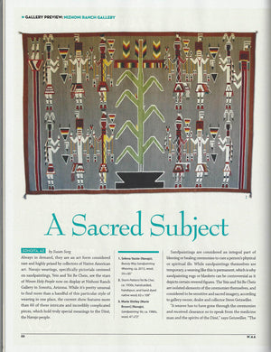 Native American Art Magazine April/May 2016 Article about 'WOVEN HOLY PEOPLE SHOW' Hangs through May